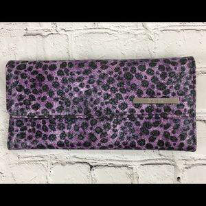 Kenneth Cole Reaction Wallet Purple Cheetah Print